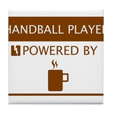 Handball Player Powered by Coffee Tile Coaster