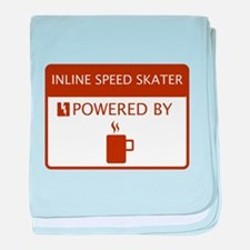 Inline Speed Skater Powered by Coffee baby blanket
