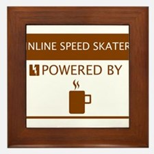 Inline Speed Skater Powered by Coffee Framed Tile