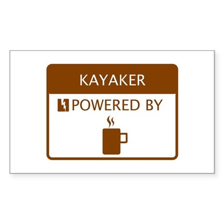 Kayaker Powered by Coffee Sticker (Rectangle)