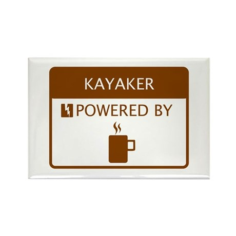 Kayaker Powered by Coffee Rectangle Magnet