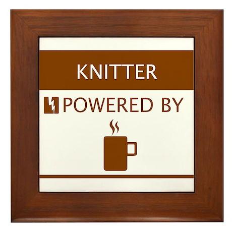 Knitter Powered by Coffee Framed Tile
