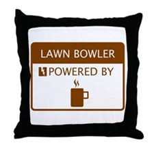 Lawn Bowler Powered by Coffee Throw Pillow