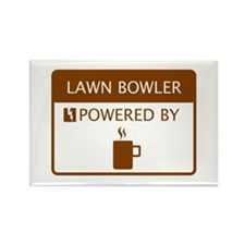 Lawn Bowler Powered by Coffee Rectangle Magnet