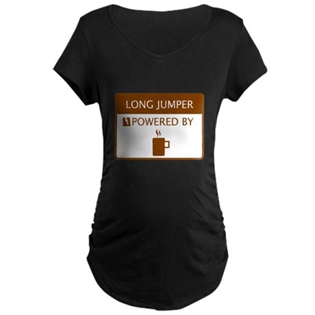 Long Jumper Powered by Coffee Maternity Dark T-Shi