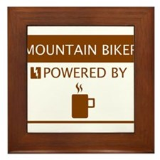 Mountain Biker Powered by Coffee Framed Tile