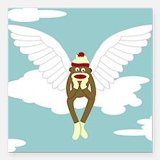 Sock Monkey Guardian Angel Square Car Magnet
