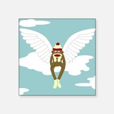 "Sock Monkey Guardian Angel Square Sticker 3"" x 3"""