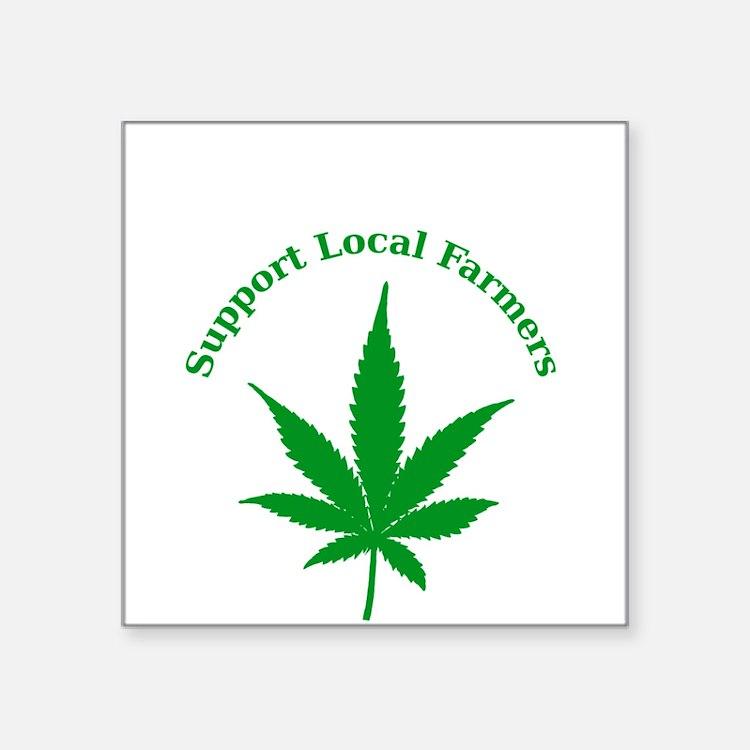 """Support Local Farmers Square Sticker 3"""" x 3"""""""