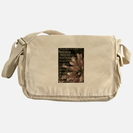 Love Is Patient BW Messenger Bag