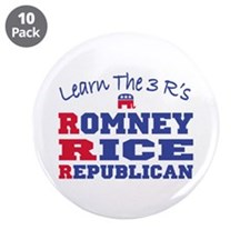"""Romney Rice Republican 2012 3.5"""" Button (10 pack)"""
