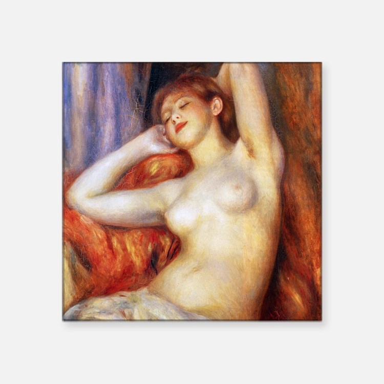 "Renoir Sleeping Baigneuse Square Sticker 3"" x 3"""