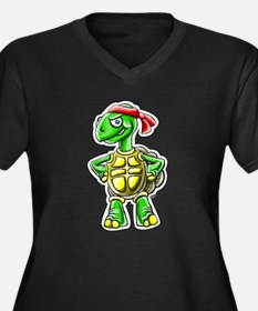 turtle Women's Plus Size V-Neck Dark T-Shirt