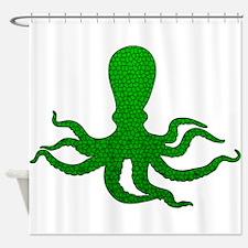 Green Octopus Mosaic Shower Curtain