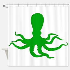 Green Octopus Shower Curtain