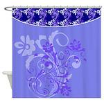 Blue Floral Design Shower Curtain