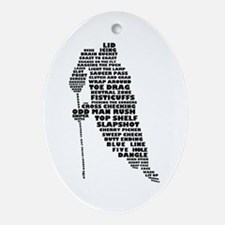 Language of Hockey (skater) Ornament (Oval)
