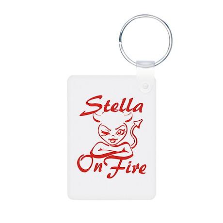 Stella On Fire Aluminum Photo Keychain