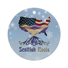 Scottish American Roots Xmas Ornament (Round)