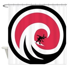Wave Hound Circle Shower Curtain