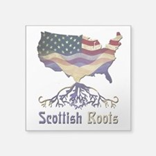 "American Scottish Roots Square Sticker 3"" x 3"