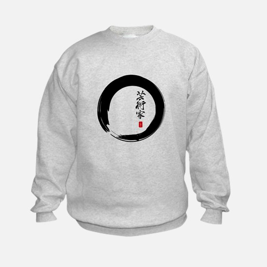 """Enso Open Circle with """"Artist"""" Calligraphy Sweatshirt"""