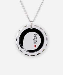 "Enso Open Circle with ""Artist"" Calligraphy Necklac"
