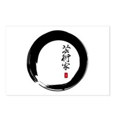 "Enso Open Circle with ""Artist"" Calligraphy Postcar"