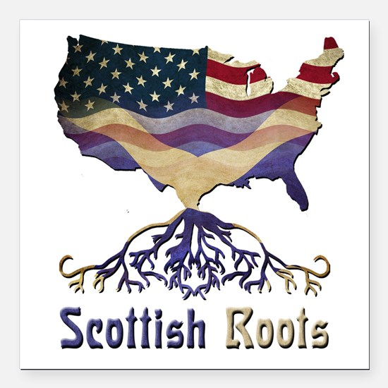 American Scottish Roots Square Car Magnet 3""