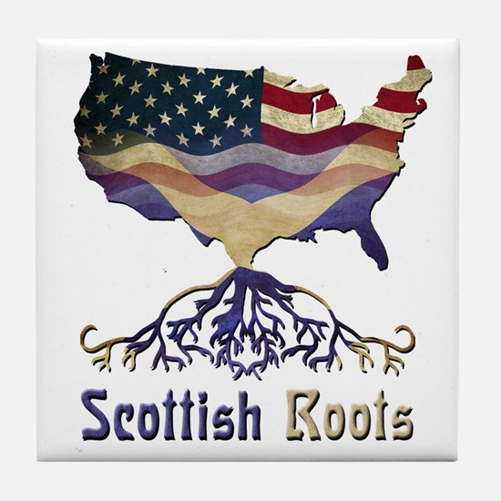 American Scottish Roots Tile Coaster