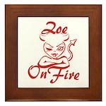 Zoe On Fire Framed Tile