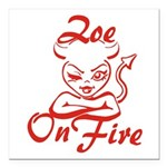 Zoe On Fire Square Car Magnet 3
