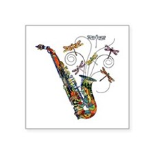 "Wild Saxophone Square Sticker 3"" x 3"""