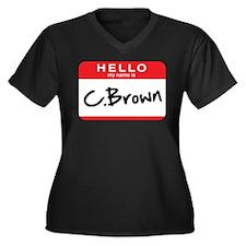 C. Brown Women's Plus Size V-Neck Dark T-Shirt