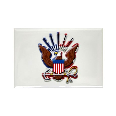 USN Eagle Flag Bevel Rectangle Magnet (100 pack)