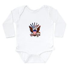 USN Eagle Flag Bevel Long Sleeve Infant Bodysuit