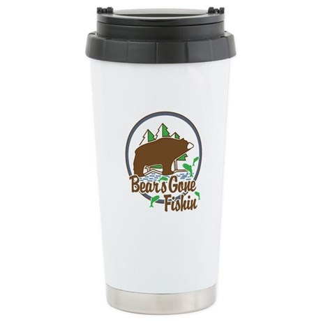 Bear's Gone Fishin' Stainless Steel Travel Mug