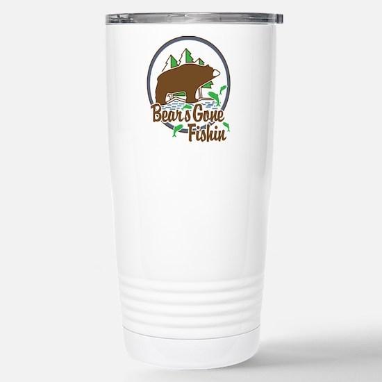 Bear's Gone Fishin' Stainless Steel Travel Mug