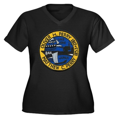 USS PERRY Women's Plus Size V-Neck Dark T-Shirt