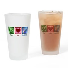 Peace Love Psychology Drinking Glass
