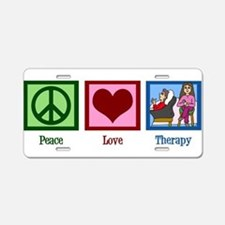 Peace Love Therapy Aluminum License Plate