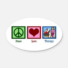 Peace Love Therapy Oval Car Magnet