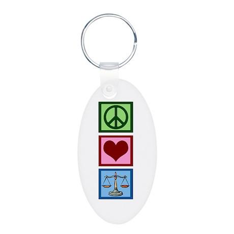 Peace Love Law Aluminum Oval Keychain
