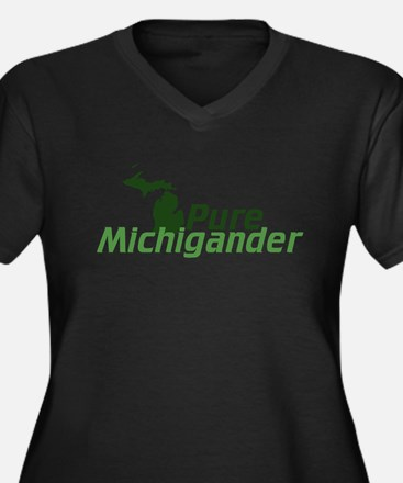 Michigan Women's Plus Size V-Neck Dark T-Shirt