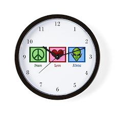 Peace Love Aliens Wall Clock