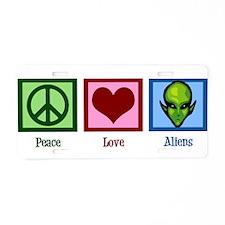 Peace Love Aliens Aluminum License Plate