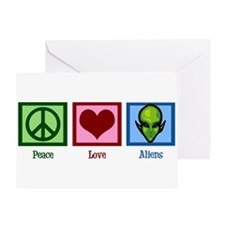 Peace Love Aliens Greeting Card