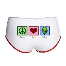 Peace Love Aliens Women's Boy Brief