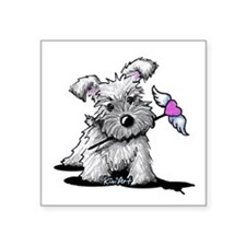 "KiniArt Schnauzer Heart Square Sticker 3"" x 3"""