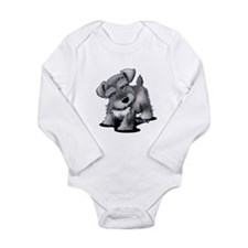 KiniArt Silver Schnauz Long Sleeve Infant Bodysuit